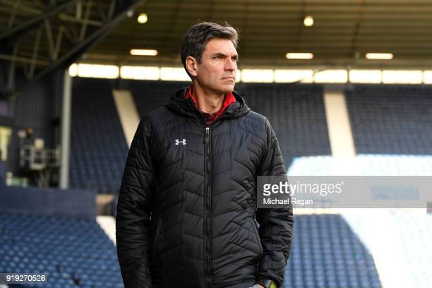 Mauricio Pellegrino Manager of Southampton arrives ahead of the The Emirates FA Cup Fifth Round between West Bromwich Albion v Southampton at The...