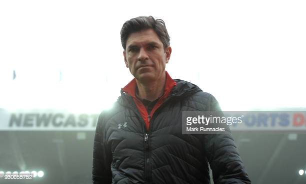 Mauricio Pellegrino Manager of Southampton arrives at the stadium prior to the Premier League match between Newcastle United and Southampton at St...