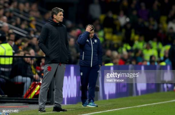 Mauricio Pellegrino manager of Southampton during the Premier League match between Watford and Southampton at Vicarage Road on January 13 2018 in...