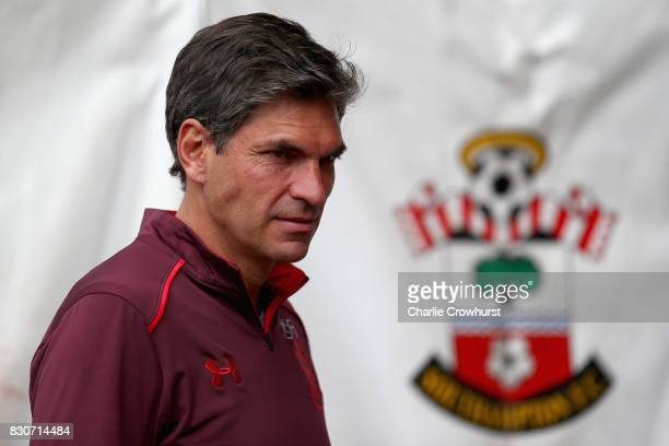Mauricio Pellegrino manager of Southampton FC looks on prior to the Premier League match between Southampton and Swansea City at St Mary's Stadium on...