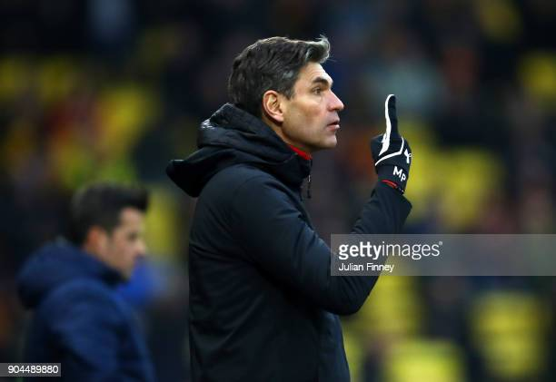 Mauricio Pellegrino Manager of Southampton gives his team instructions during the Premier League match between Watford and Southampton at Vicarage...
