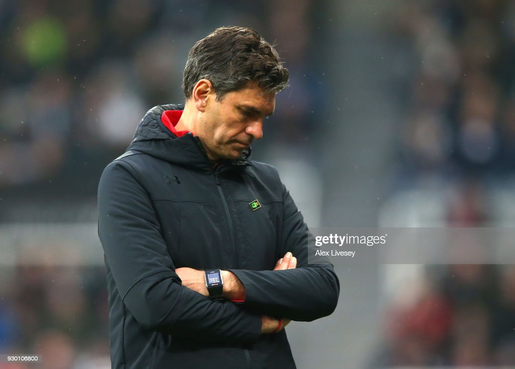 Mauricio Pellegrino, Manager of Southampton looks dejected after the Premier League match between Newcastle United and Southampton at St. James Park on March 10, 2018 in Newcastle upon Tyne, England.