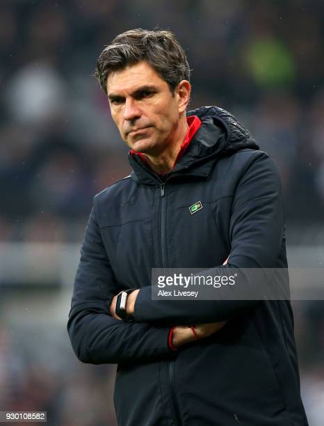 Mauricio Pellegrino Manager of Southampton looks dejected after the Premier League match between Newcastle United and Southampton at St James Park on...