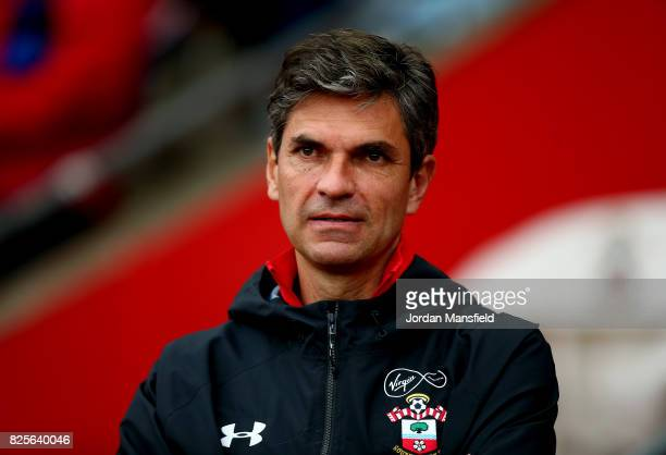 Mauricio Pellegrino manager of Southampton looks on during the PreSeason Friendly match between Southampton and FC Augsburg at St Mary's Stadium on...