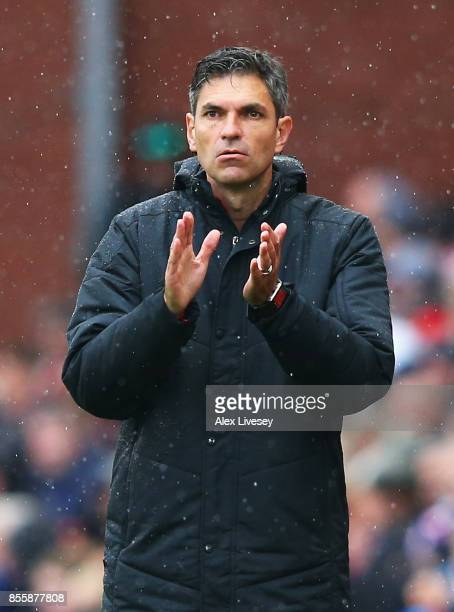Mauricio Pellegrino Manager of Southampton looks on during the Premier League match between Stoke City and Southampton at Bet365 Stadium on September...