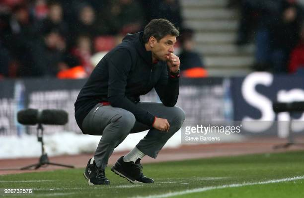 Mauricio Pellegrino Manager of Southampton looks on during the Premier League match between Southampton and Stoke City at St Mary's Stadium on March...