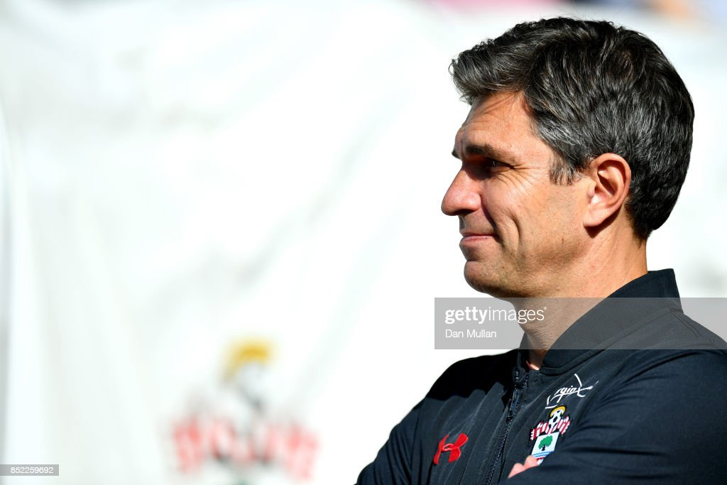 Mauricio Pellegrino, Manager of Southampton looks on prior to the Premier League match between Southampton and Manchester United at St Mary's Stadium on September 23, 2017 in Southampton, England.