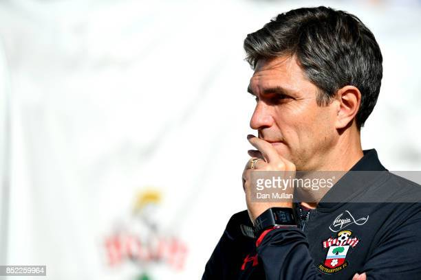 Mauricio Pellegrino Manager of Southampton looks on prior to the Premier League match between Southampton and Manchester United at St Mary's Stadium...