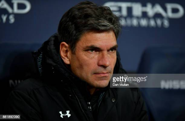 Mauricio Pellegrino Manager of Southampton looks on prior to the Premier League match between Manchester City and Southampton at Etihad Stadium on...