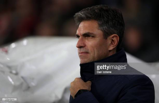 Mauricio Pellegrino Manager of Southampton looks on prior to the Premier League match between Southampton and Leicester City at St Mary's Stadium on...