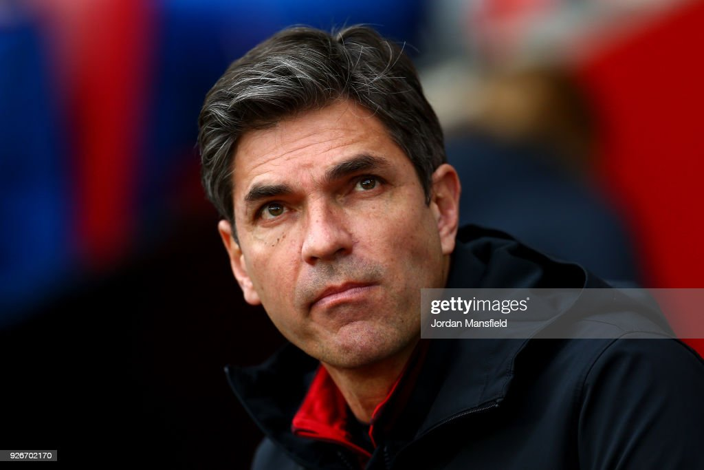 Mauricio Pellegrino, Manager of Southampton, looks on prior to the Premier League match between Southampton and Stoke City at St Mary's Stadium on March 3, 2018 in Southampton, England.