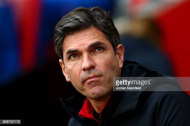Mauricio Pellegrino Manager of Southampton looks on prior to the Premier League match between Southampton and Stoke City at St Mary's Stadium on...