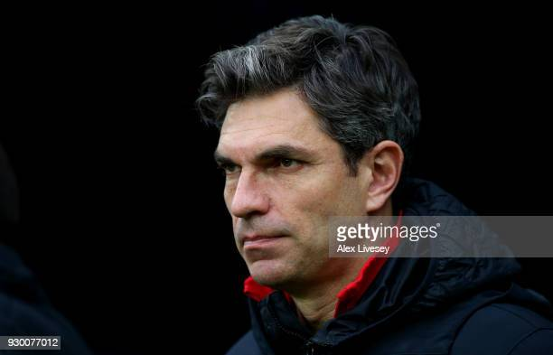 Mauricio Pellegrino Manager of Southampton looks on prior to the Premier League match between Newcastle United and Southampton at St James Park on...