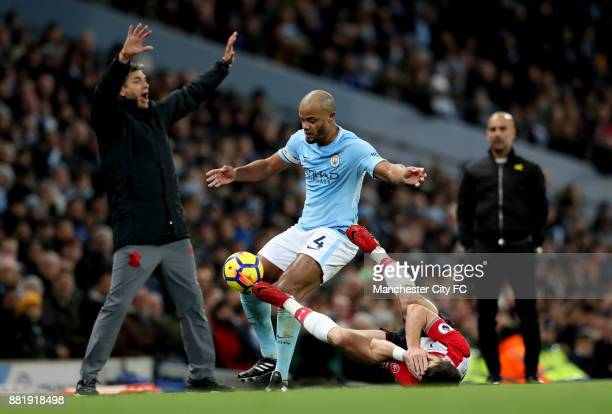 Mauricio Pellegrino Manager of Southampton reacts as Vincent Kompany of Manchester City fouls PierreEmile Hojbjerg of Southampton during the Premier...
