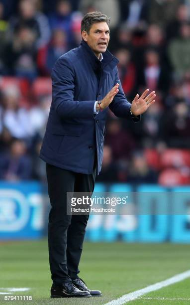 Mauricio Pellegrino Manager of Southampton reacts during the Premier League match between Southampton and Everton at St Mary's Stadium on November 26...
