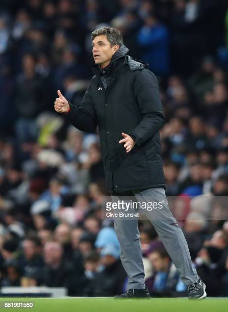 Mauricio Pellegrino Manager of Southampton reacts during the Premier League match between Manchester City and Southampton at Etihad Stadium on...
