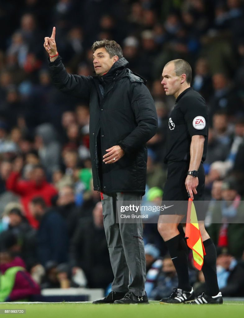 Mauricio Pellegrino, Manager of Southampton reacts during the Premier League match between Manchester City and Southampton at Etihad Stadium on November 29, 2017 in Manchester, England.