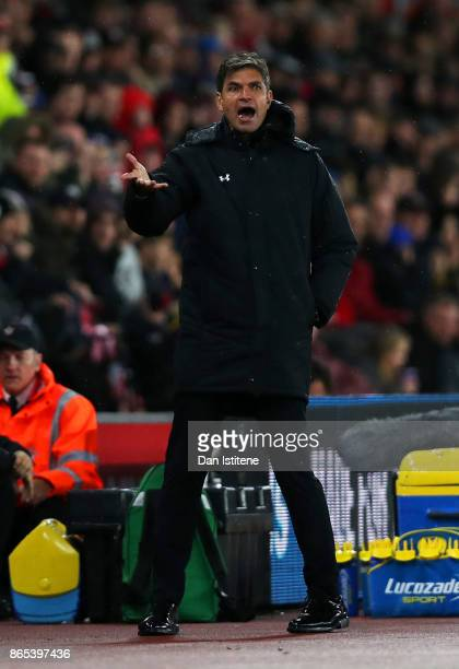 Mauricio Pellegrino manager of Southampton reacts on the touchline during the Premier League match between Southampton and West Bromwich Albion at St...