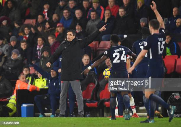 Mauricio Pellegrino Manager of Southampton signals during the Premier League match between Southampton and Tottenham Hotspur at St Mary's Stadium on...