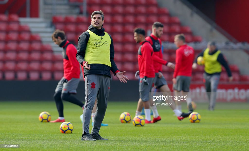 Mauricio Pellegrino of Southampton FC during a training session at St. Mary's Stadium on February 22, 2018 in Southampton, England.