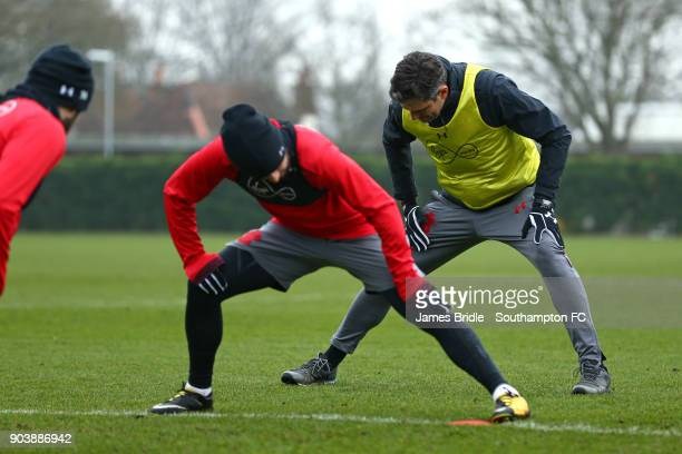 Mauricio Pellegrino stretches with the players during a Southampton FC training session at Staplewood Complex on January 11 2018 in Southampton...