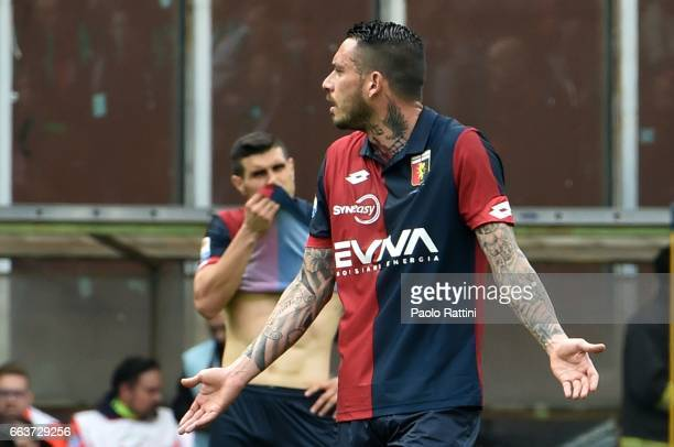 Mauricio Pinilla and Ezequiel Munoz show disappointment during the Serie A match between Genoa CFC and Atalanta BC at Stadio Luigi Ferraris on April...
