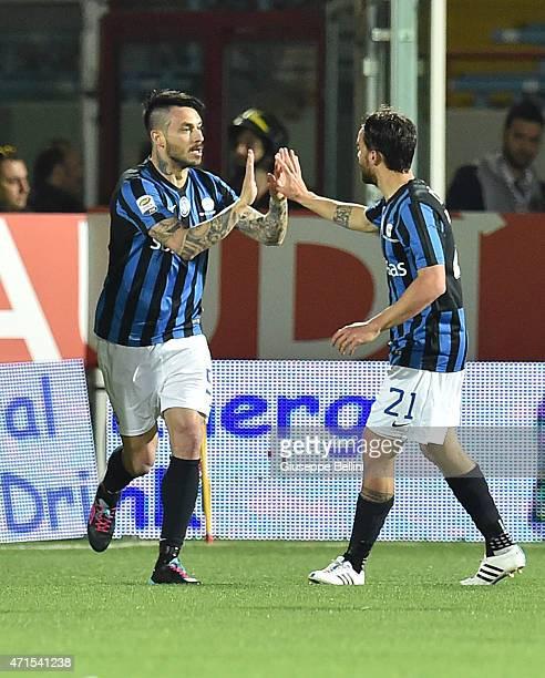 Mauricio Pinilla of Atalanta celebrates after scoring the opening goal during the Serie A match between AC Cesena and Atalanta BC at Dino Manuzzi...