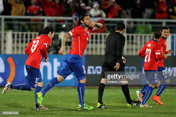 Mauricio Pinilla of Chile celebrates the second goal of his team during the international friendly match between Chile and Northern Ireland at Elias...