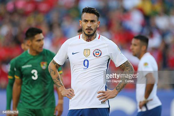 Mauricio Pinilla of Chile during the Chile Vs Bolivia Group D match of the Copa America Centenario USA 2016 Tournament at Gillette Stadium on June 10...