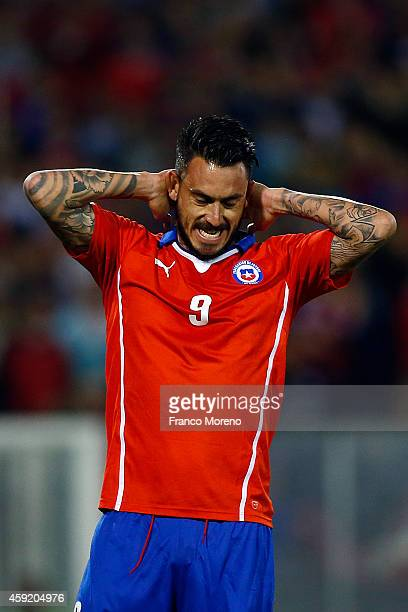 Mauricio Pinilla of Chile gestures after missing a chance during an international friendly match between Chile and Uruguay at Monumental Stadium on...