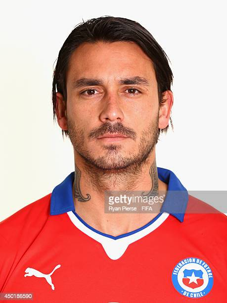 Mauricio Pinilla of Chile poses during the official FIFA World Cup 2014 portrait session on June 6 2014 in Belo Horizonte Brazil