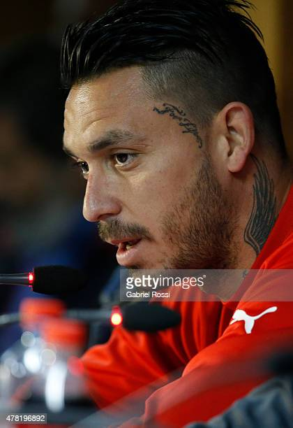 Mauricio Pinilla of Chile talks during a press conference at Nacional Stadium on June 23 2015 in Santiago Chile Chile will face Uruguay as part of...