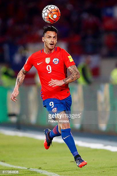 Mauricio Pinilla of Chile tries to control the ball during a match between Chile and Argentina as part of FIFA 2018 World Cup Qualifiers at Nacional...