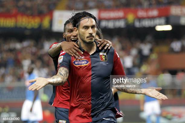 Mauricio Pinilla of Genoa CFC celebrate a goal during the Serie A match between Genoa CFC and SSC Napoli at Stadio Luigi Ferraris on August 31 2014...