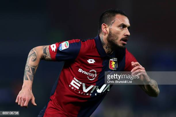 Mauricio Pinilla of Genoa CFC in action during the Serie A match between Genoa CFC and UC Sampdoria at Stadio Luigi Ferraris on March 11 2017 in...