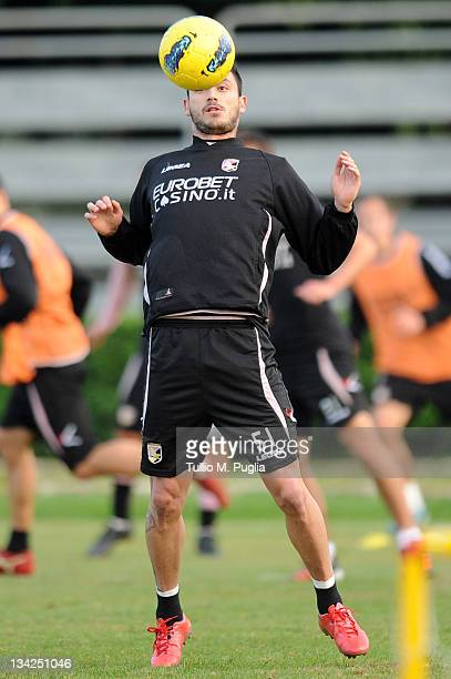 Mauricio Pinilla of Palermo in action during a Palermo training session at Tenente Carmelo Onorato Sports Center on November 29 2011 in Palermo Italy