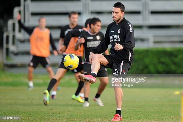 Mauricio Pinilla of Palermo looks on during a Palermo training session at Tenente Carmelo Onorato Sports Center on November 29 2011 in Palermo Italy
