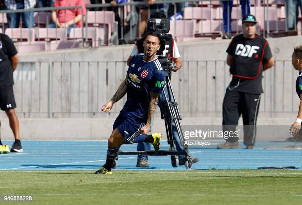 Mauricio Pinilla of U de Chile celebrates after scoring the first goal his team during a match between U de Chile and Colo Colo as part of Torneo...