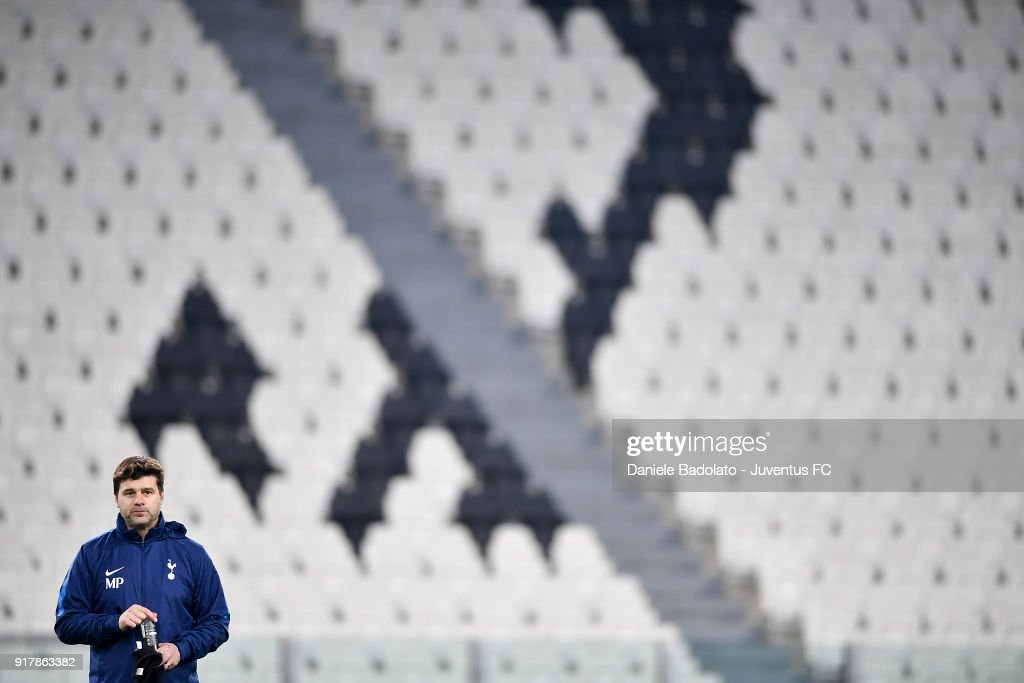 Mauricio Pochettino during the Champions League Tottenham FC training session at Allianz Stadium on February 12, 2018 in Turin, Italy.