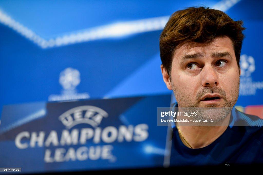 Mauricio Pochettino during the Tottenham FC Champions League Press Conference at Allianz Stadium on February 12, 2018 in Turin, Italy.