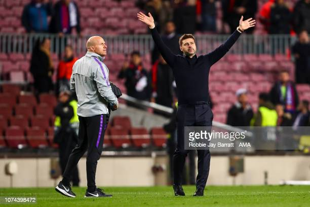 Mauricio Pochettino head coach / manager of Tottenham Hotspur applauds the fans during the UEFA Champions League Group B match between FC Barcelona...