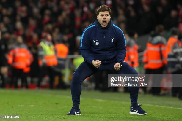 Mauricio Pochettino head coach / manager of Tottenham Hotspur celebrates during the Premier League match between Liverpool and Tottenham Hotspur at...