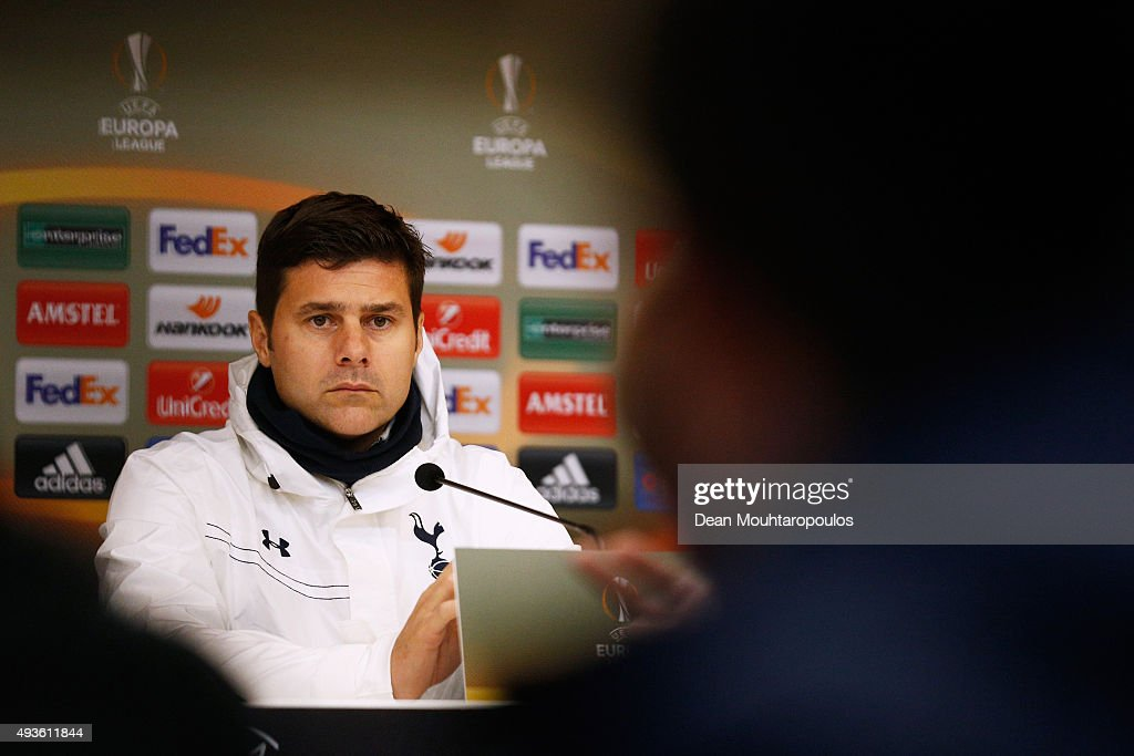 Mauricio Pochettino, head coach / manager of Tottenham Hotspur speaks to the media during the Tottenham Hotspur press conference ahead of the UEFA Europa League match against Anderlecht at Constant Vanden Stock Stadium on October 21, 2015 in Brussels, Belgium.