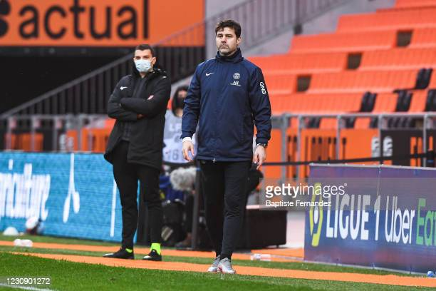 Mauricio POCHETTINO head coach of Paris Saint Germain during the French Ligue 1 soccer match between Lorient and Paris Saint-Germain at Yves...