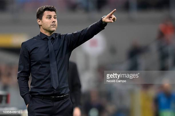 Mauricio Pochettino head coach of Tottenham Hotspur gestures during the UEFA Champions League football match between FC Internazionale and Tottenham...