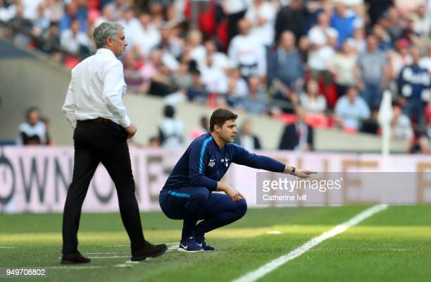 Mauricio Pochettino manager / head coach of Tottenham Hotspur and Jose Mourinho the head coach / manager of Manchester United during The Emirates FA...