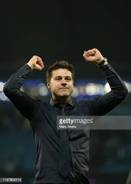 Mauricio Pochettino manager / head coach of Tottenham Hotspur celebrates the win during the UEFA Champions League Quarter Final second leg match...
