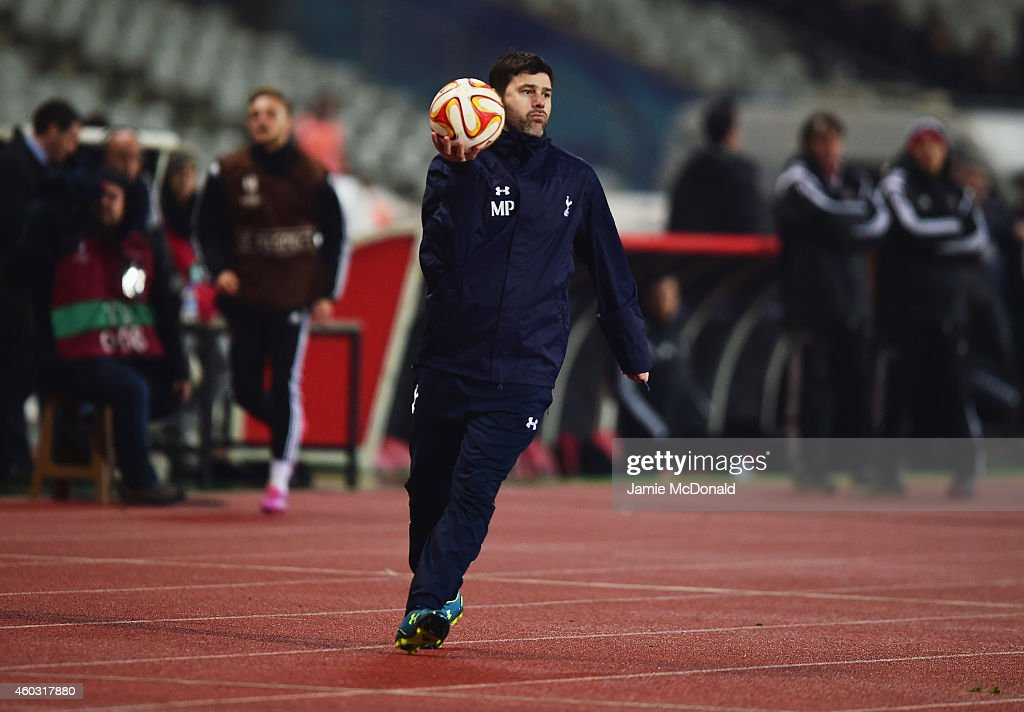 Mauricio Pochettino manager of Spurs holds the match ball during the UEFA Europa League Group C match between Besiktas JK and Tottenham Hotspur FC at Ataturk Olympic Stadium on December 11, 2014 in Istanbul, Turkey.
