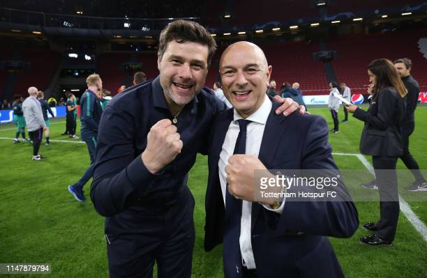 Mauricio Pochettino, Manager of Tottenham Hotspur and Chairman Daniel Levy celebrate during the UEFA Champions League Semi Final second leg match...