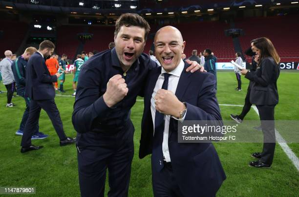Mauricio Pochettino Manager of Tottenham Hotspur and Chairman Daniel Levy celebrate during the UEFA Champions League Semi Final second leg match...